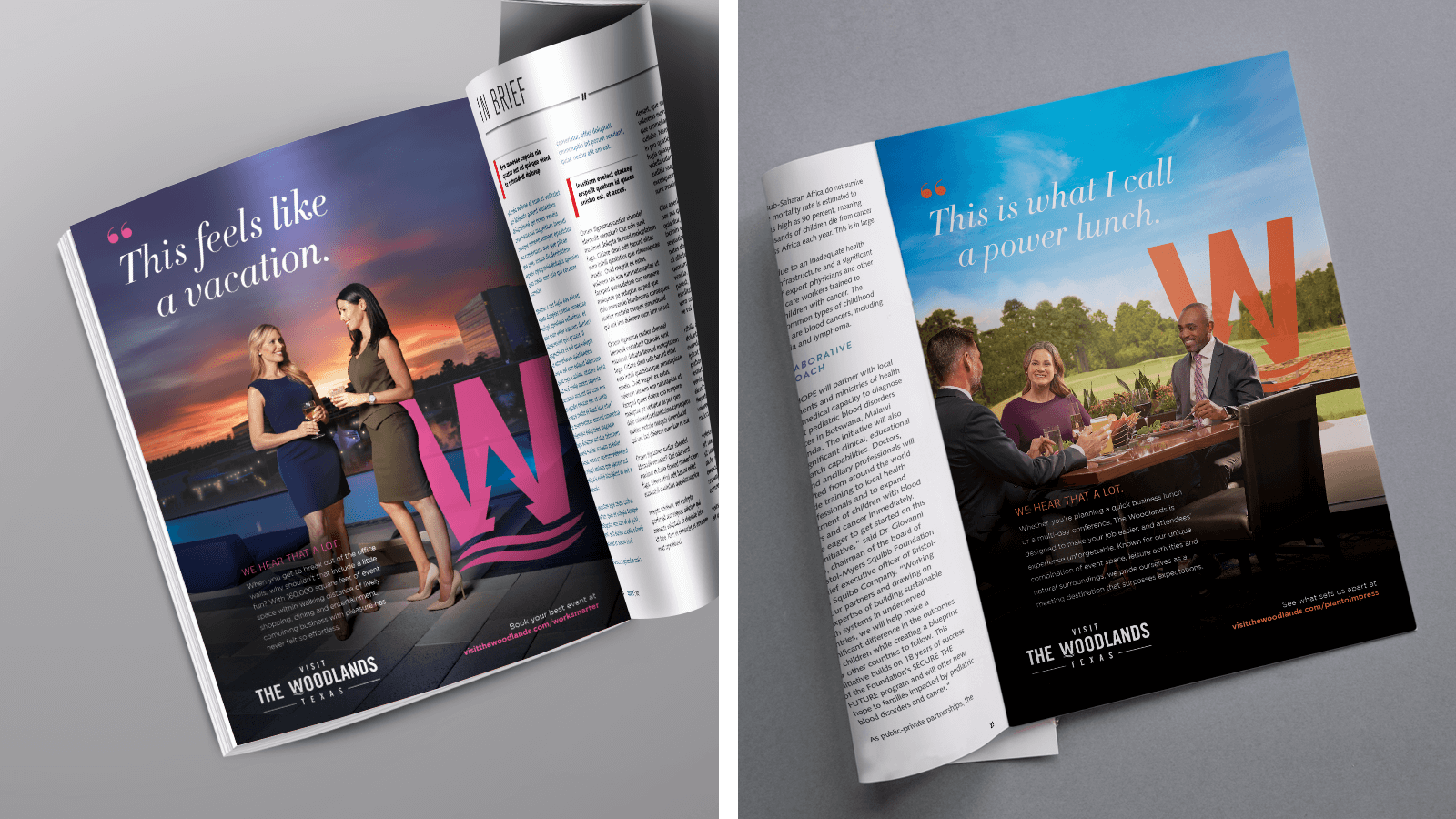 The Woodlands magazine and featured gold course + restaurant