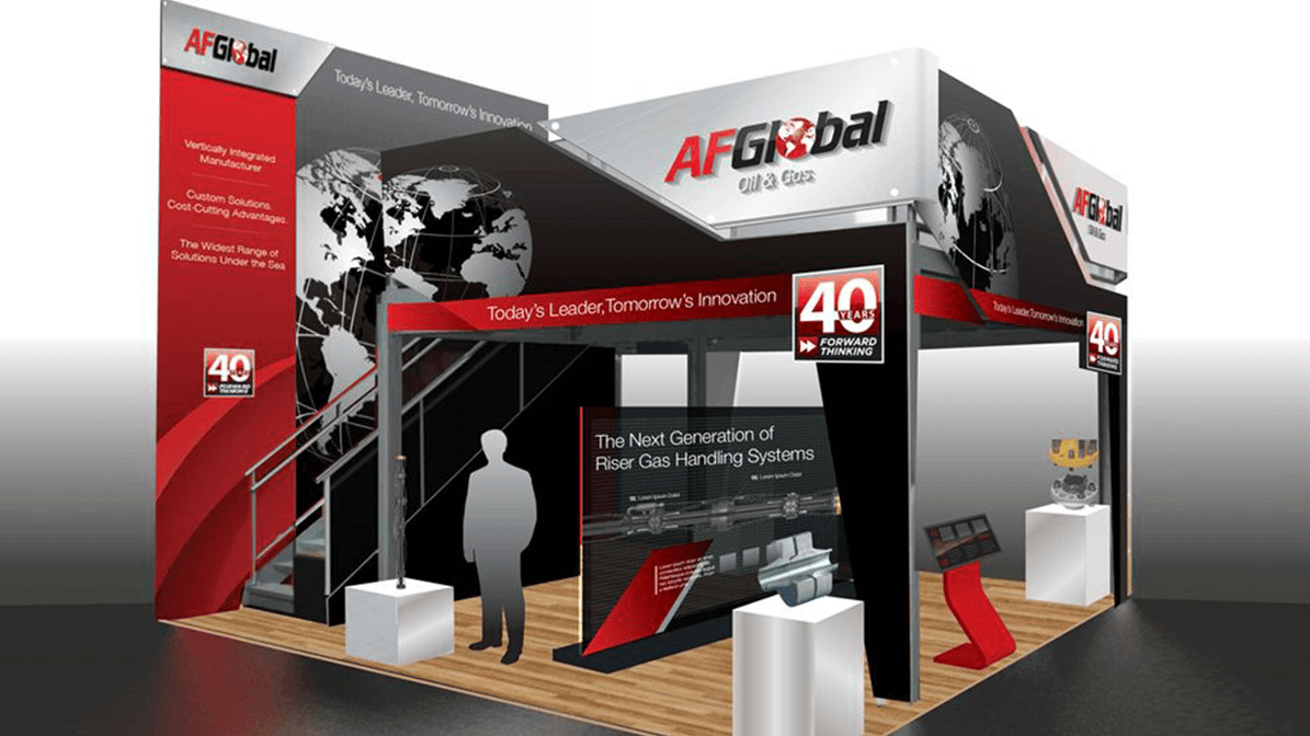 3D render of expo booth for AF Global