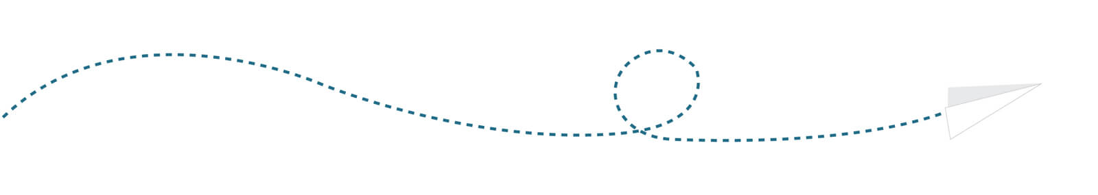 Illustration of paper plane flying through from left to right