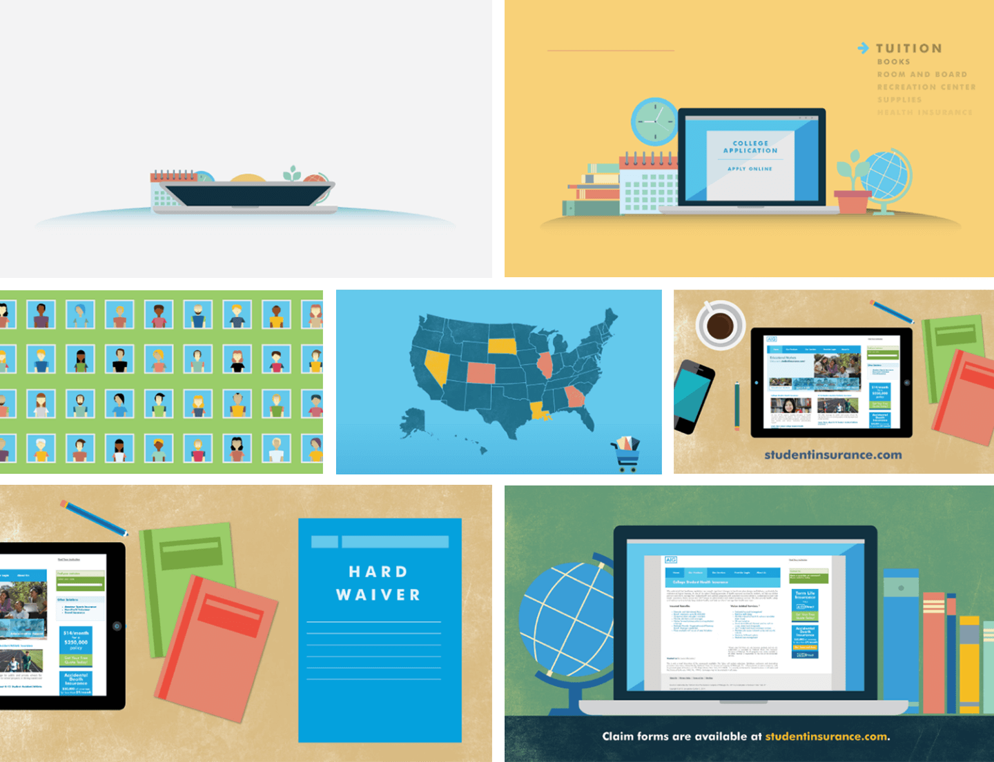 Collage of illustration blocks with books, laptops, and a map of the USA