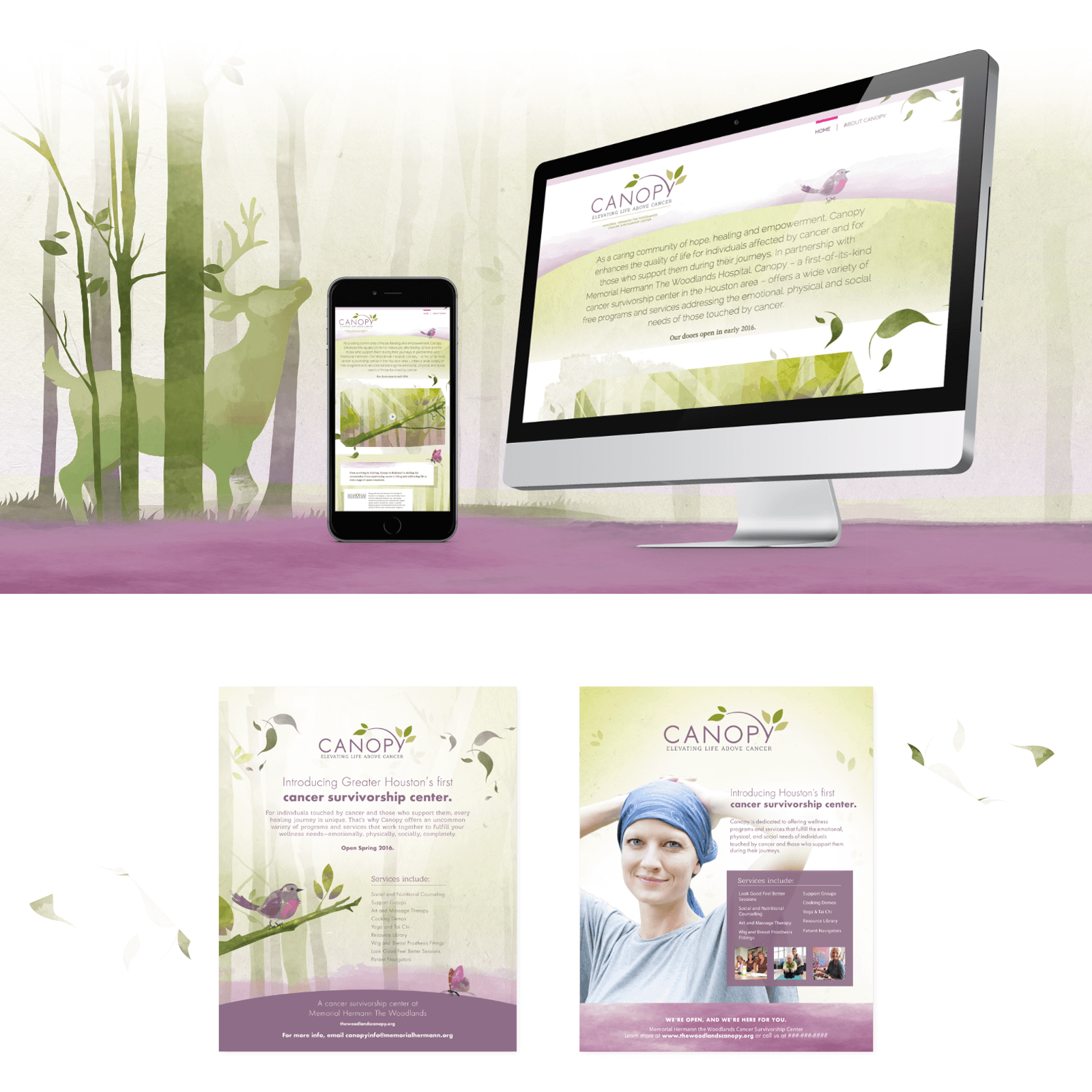 Canopy mockups of new website on desktop and mobile on a watercolor background