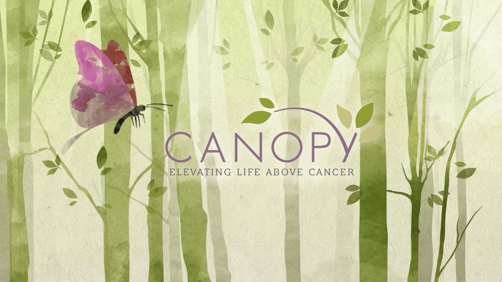 Canopy, Elevating Life Above Cancer (hero image of logo on a watercolor background)