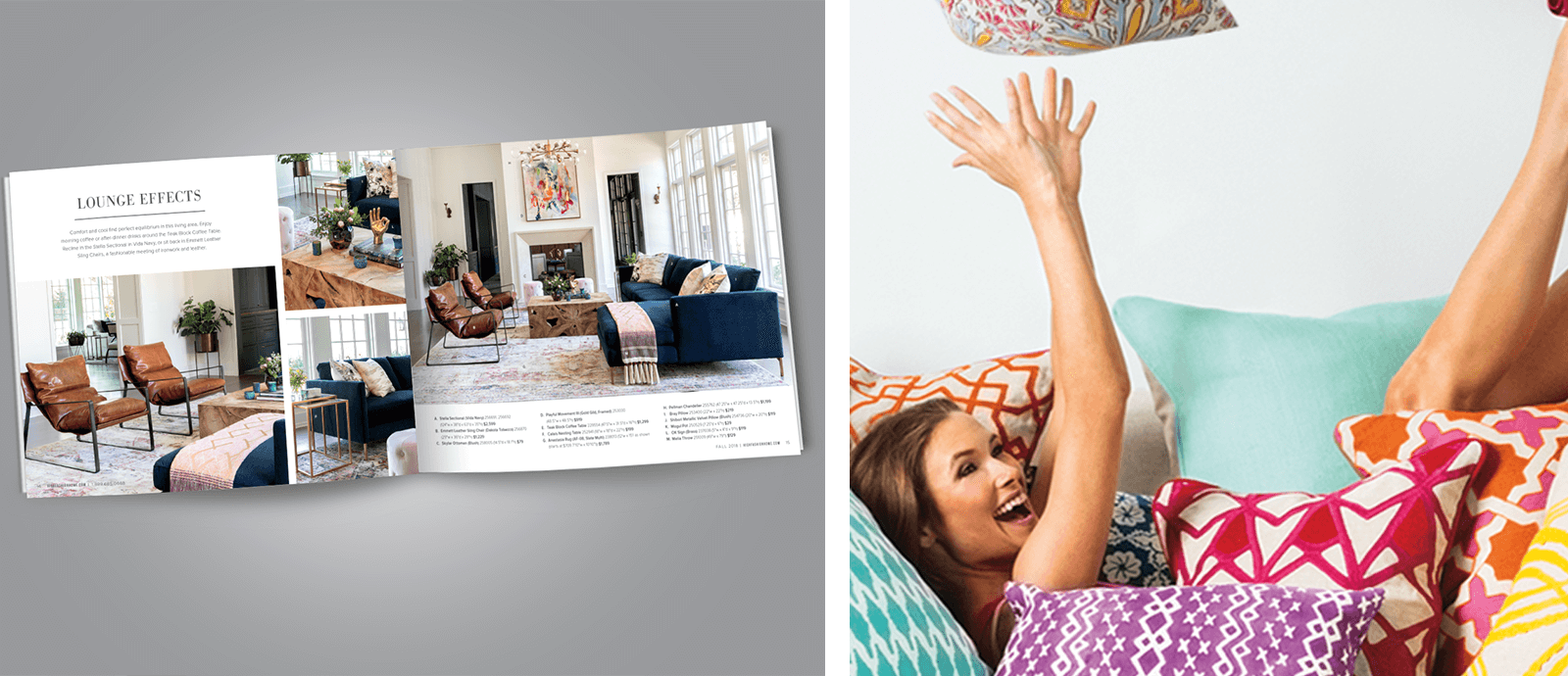 Images of a printed brochure with furniture pieces and a laughing woman playing with throw pillows on the right