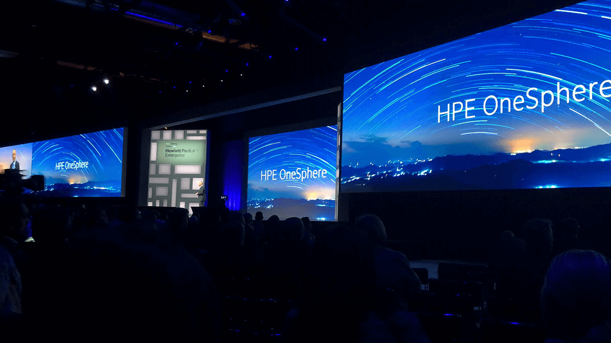 HPE event with OneSphere logo displayed on extremely large screens