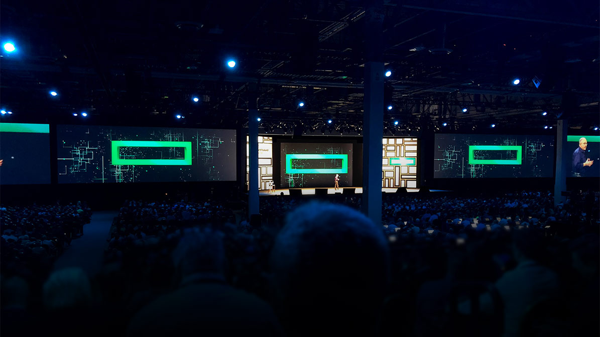HPE Discover stage with presenter in the middle
