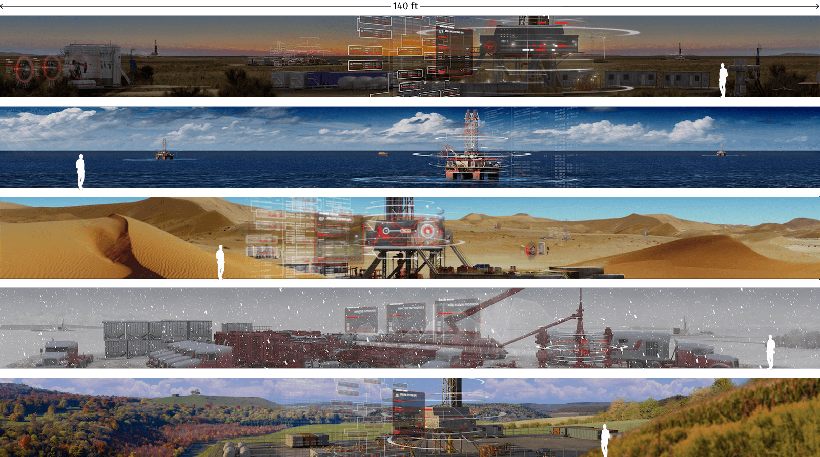 Scale of screens created for immersive experience for Halliburton's LIFE event