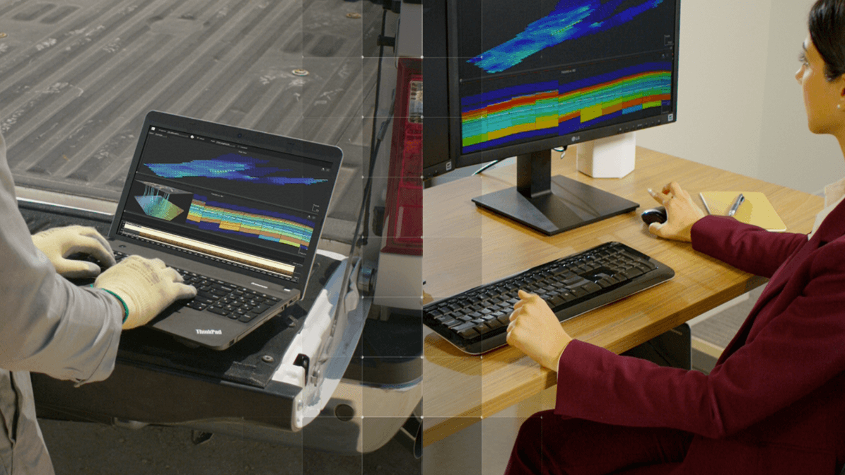 Collage of two people working with laptops in different environments (office and field)