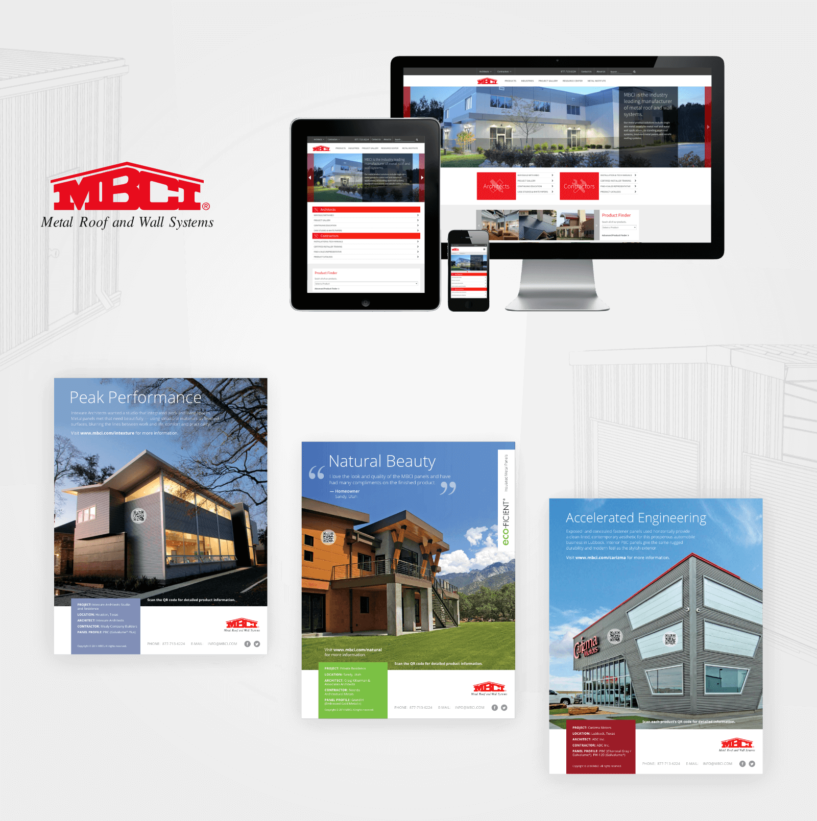 Graphic with MBCI  logo, website mockups on different devices, and printed brochures of different types of modern buildings