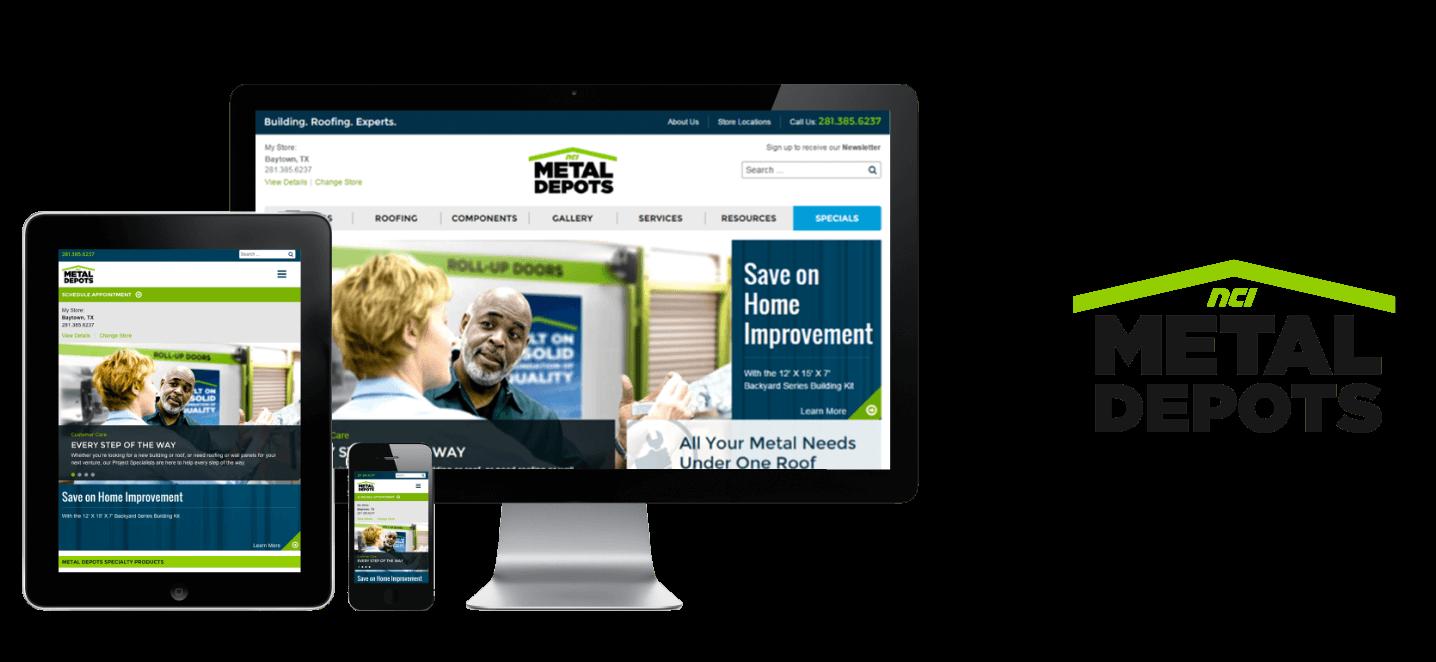 Image of NCI Metal Depots logo and website mockup on desktop and mobile devices