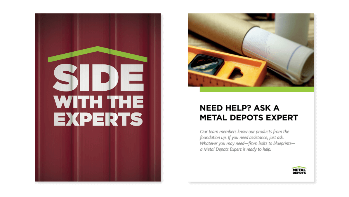"""NCI Metal Depots printed promotional materials reading in bold captions: """"Side with the experts"""""""