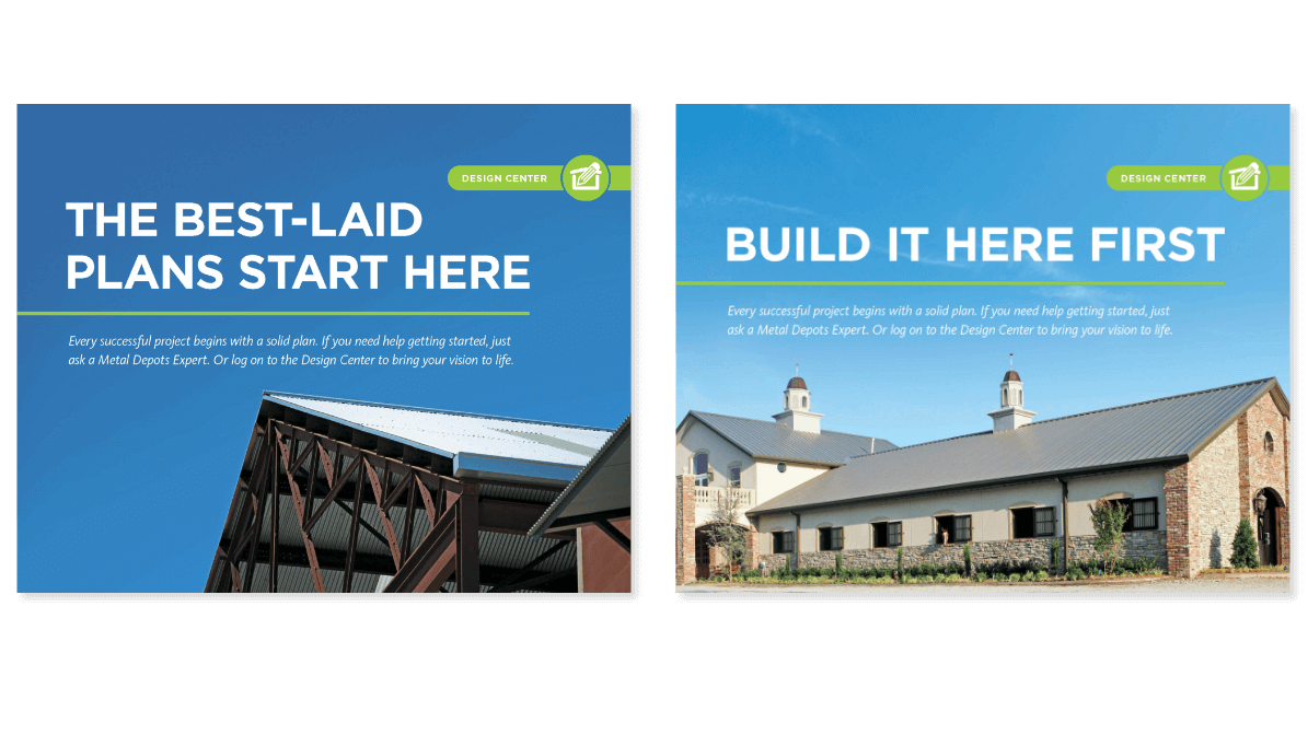 Printed marketing materials showing roofs of large buildings