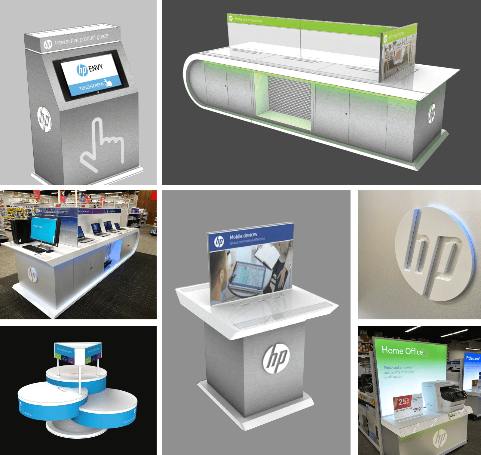 Collage of HP kiosks and desks set inside store