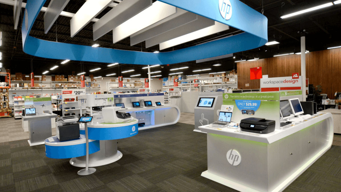 Shot of HP's section in the middle of Office Depot's store