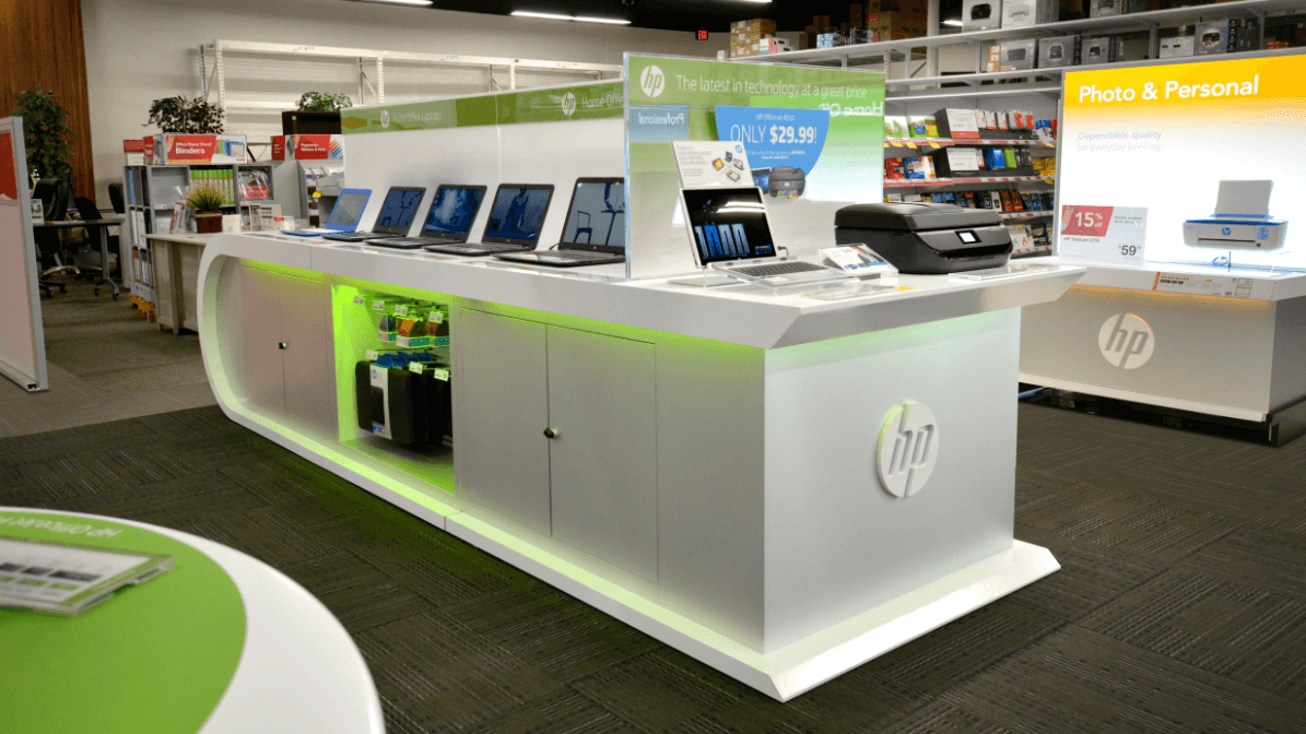 Shot of HP's aisle showcasing laptops and printers inside store