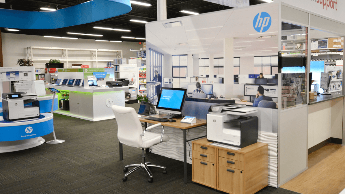 Another shot of HP's section inside store showing a workspace using HP's consumer products