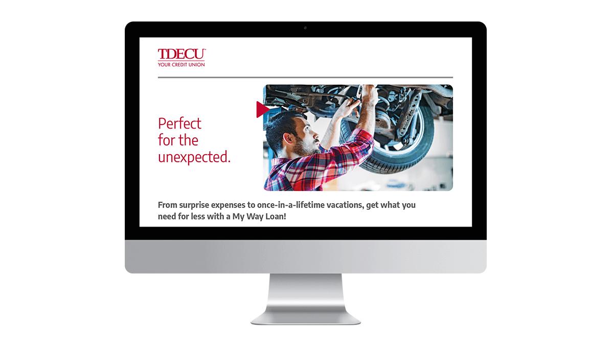 Desktop mockup of TDECU promotional landing page