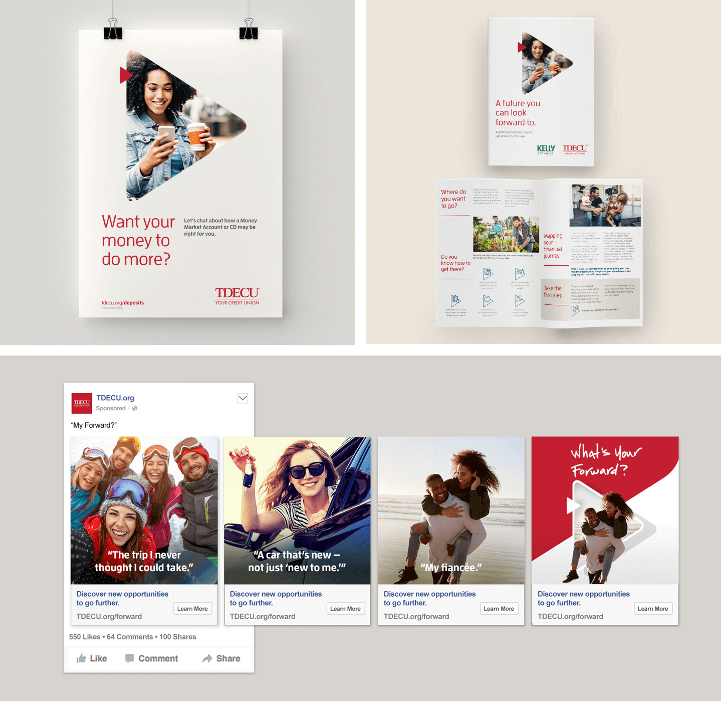 "Collage of images with printed deliverables, as well as social media marketing assets for TDECU ""My Forward"" campaign"