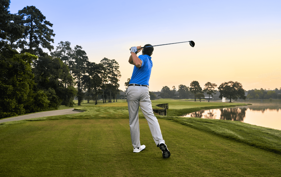 Man at the gold course in the Woodlands