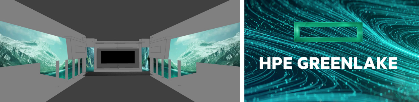 Sketch of projection mapping areas and a still frame of branded graphic animation