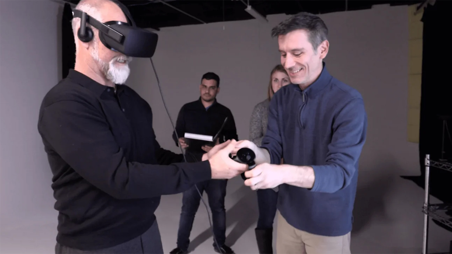 Adcetera's team members trying out a VR setup