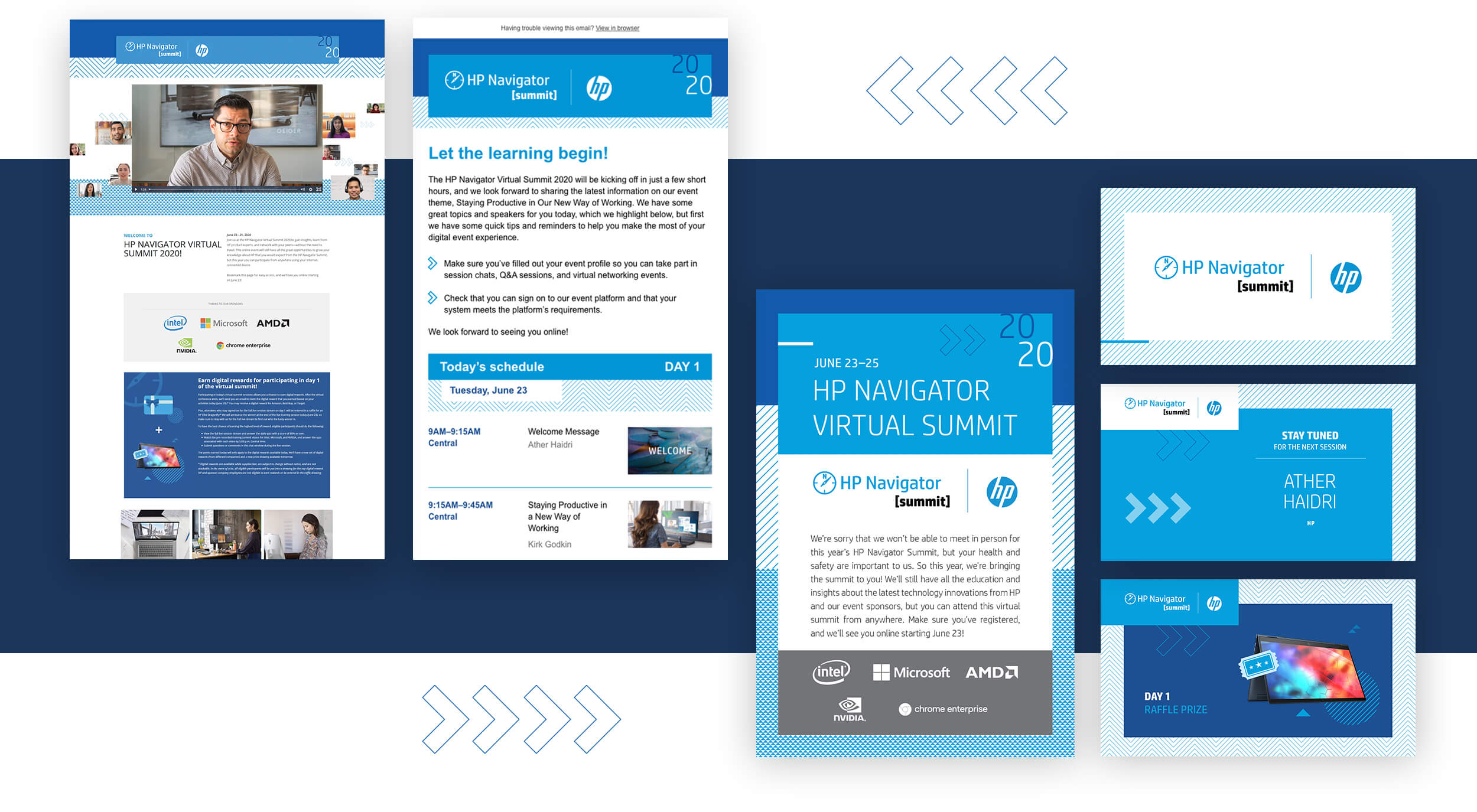 HP Navigator Virtual Event interactive screens